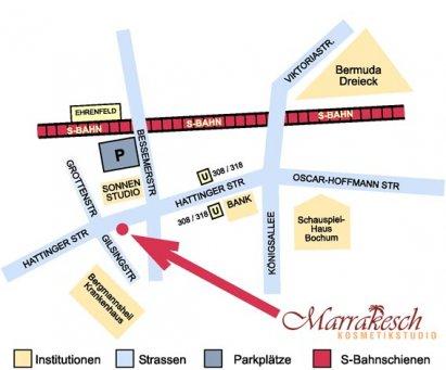 Anfahrt Kosmetikstudio Marrakesch in Bochum